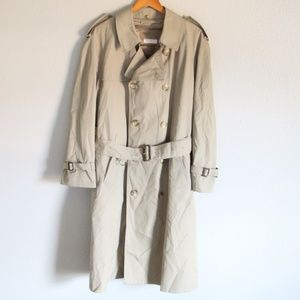 Brooks Brothers Mens Khaki Wool Trench Coat 40R